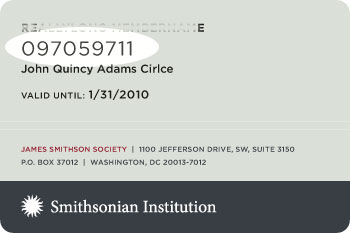 James Smithson Society Member Card