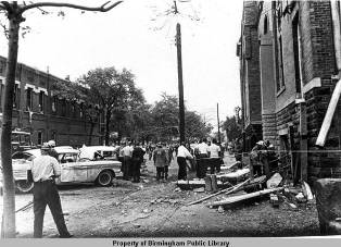 Side of church after bombing.