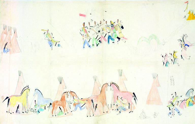 His Fight's (Hunkpapa Lakota) painting of a horse raid