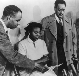 Autherine Lucy with Thurgood Marshall and Roy Wilkinson
