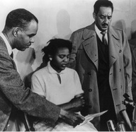 Roy Wilkins with Autherine Lucy and Thurgood Marshall