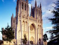 Exterior photo of the national cathedral in washington dc