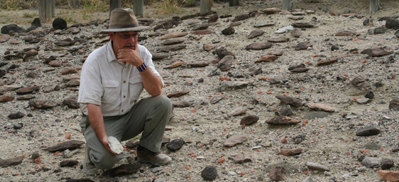 Rick Potts looks at handaxes at Olorgesailie