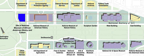 NMAAHC Building Map - Future site of the Museum on the National Mall